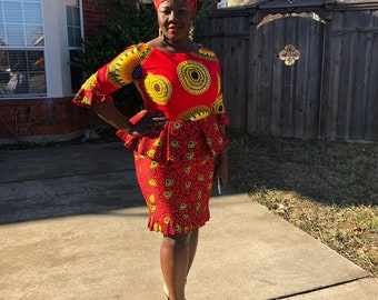 US Size 16/18 XL 100% cotton yellow/ red mix match  fabric pair African fabric peplum blouse with collar and skirt women's. Head wrap includ