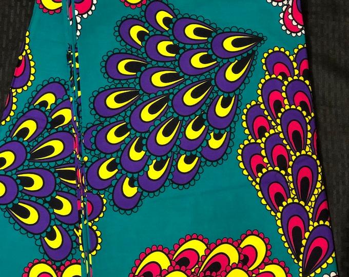 PCK5 per yard Pink/ Green teal Yellow peacock African Fabric/ African Wax print/ Ankara/ African Cloth/ Material/ Ghana/ Nigeria Fabric