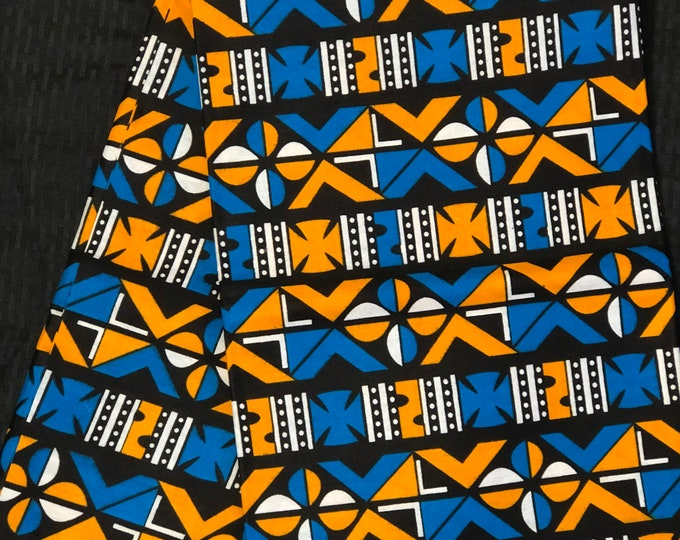 YBB12 african fabric per yard  blue Yellow orange black mudcloth African Wax print/ Ankara for African art craft/ cloth dolls/ home decor/