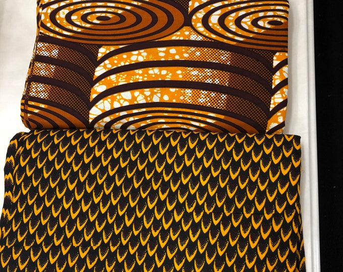 MM473 3 yards each  pairing watch fish scale Brown/White Mix and Match African Fabric/ Wax print/ Material