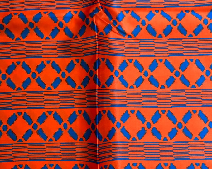 SK16 Silk kente  5 yards burnt orange blue African  Print/ African Wax print/ Fabric for dolls and Africans