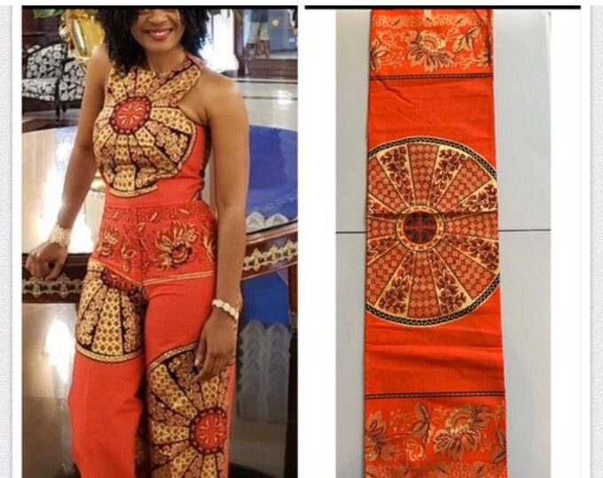 AG6110 6 yards orange Gold  Akuffo Design African Wax print/ AfricanFabric/ Ankara/ ghana Cloth/wholesale prints