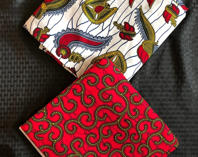 MM476 3 yds each Mix Match black white Red  pair African Fabric/ ankara/ african Wax Print/ ethnic print/ African Material/ Doll Cloth