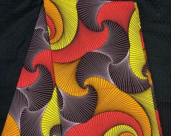 MC6 6 yard orange brown yellow/ red/ multicolor swirl african Fabric/ kente Wax print/ kente cloth/ Material/head wrap