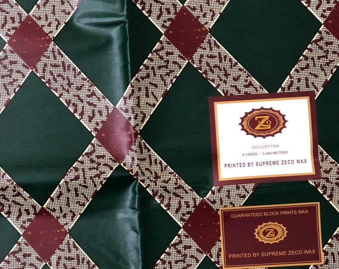 African fabric per yard Forest Green beige burgundy red Square / Ankara/ African Wax print/ African Material/ African Cloth/ wrapper