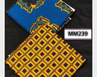 MM239 3 yard each Blue/ Yellow Mix Match turtle/stool Design African Fabric/ African Wax print/ Ankara/ African Material Cloth