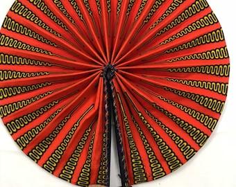 Orange yellow pencil Ankara african wedding favor ethnic print fabric round windmill style handmade hand fan with leather trim folding