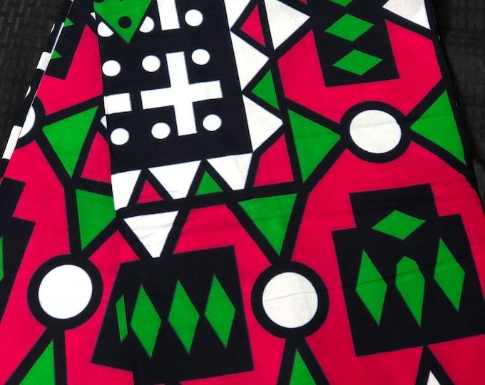 Ak19 african fabric per yard Pink/ Green angola Samacacca African Wax print/ Ankara/ African Cloth/ Material/ Ghana/ Nigeria Fabric