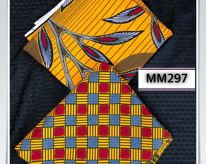 MM297 Mix Match sun african fabric pair Red/ Yellow African Fabric/ ankara/ african Wax Print/ ethnic print/ African Material/ Doll Cloth