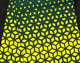 LG6 6 yards lime Green hunter green geometric design African Fabric/ African Wax print/ Ankara/ African Material/ cloth/ wrapper