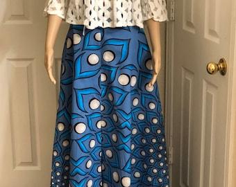 Blue White Long fabric skirt / ethnic skirt / dashiki skirt / women wear/Ankara/African wax print skirt