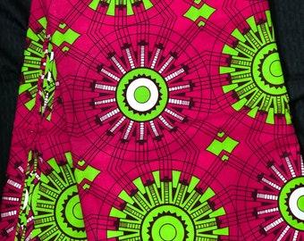 Ak20 african fabric per yard Pink/ Green African Wax print/ Ankara/ African Cloth/ Material/ Ghana/ Nigeria Fabric