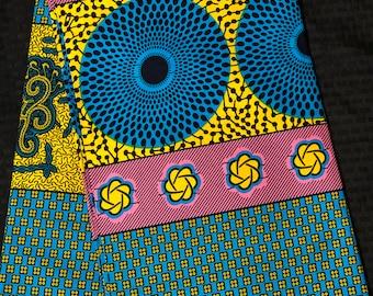PBY1 african fabric per yard Blue Pink yellow bullseye patchwork / African Wax print/ Ankara/ African Cloth/ Material/ Ghana/ Nigeria Fabric