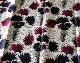 SK8 5 yards Silk white Pink plum purple leaf  ethnic print/ home decor print/ African ankara Wax print