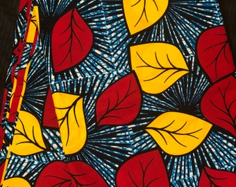 NC11 African fabric per yard  Red/Yellow/ blue floral African Wax print/ Ankara for Dress/ African cloth dolls/ African decor