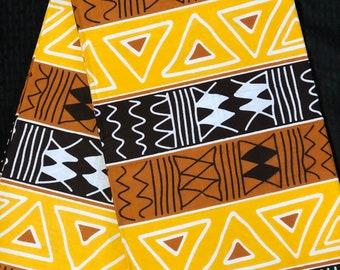 YBW1 african fabric per yard Brown white Yellow mud cloth African Wax print/ Ankara for Dress/ African cloth dolls/ African decor