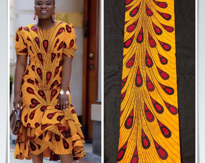 A617 6yd african fabric orange and red rain  Peacock/ Bulb Design / African Wax print/ Ankara/ African Material/ cloth/ ntoma/ wrapper