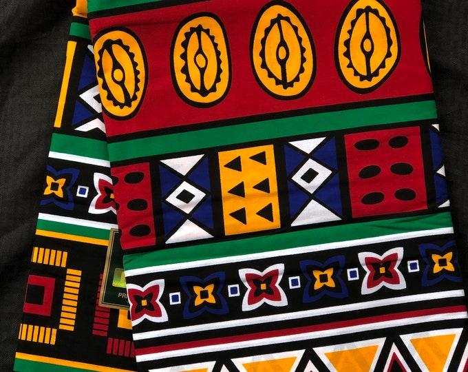 OBP1 African fabric per yard orange/ red/ Blue Mudcloth  Fabric tribal ethnic print / kente Wax print/ kente cloth/ Material
