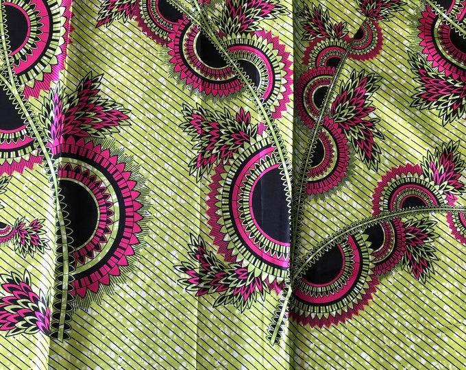 SK14 5 yards Silk Pink lemon green Design gorgeous African Silk print/ african silk fabric/ ethnic silk fabric/ African doll cloth