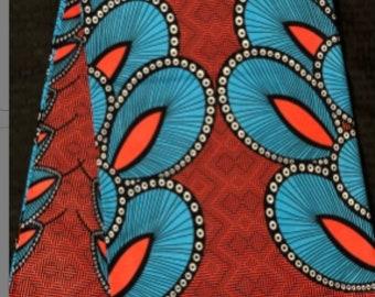 CB6 6 yards Blue Coral Pink African Fabric/ African Wax print/ Ankara/ African Cloth/ Material/ Ghana/ Nigeria Fabric