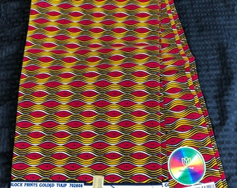 6 yards White/ red/ Yellow/gold Design African Fabric/African Wax print/ Ankara for Sew Dress/ African Art/ cloth dolls