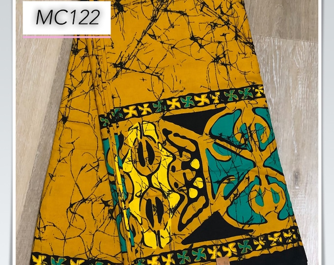 MC122 african fabric per yard black  white mustard Yellow tie dye batik African Wax print/ Ankara for Dress/ African cloth doll