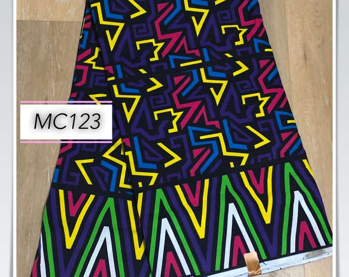MC123 african fabric per yard zig zag multicolor purple blue white green Mudcloth Design ankara/ african Material/ Cloth/ wrapper