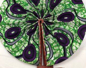green purple  Kente Ankara african wedding favor ethnic print fabric round windmill style handmade hand fan with leather trim folding