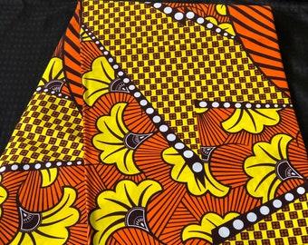YBR61 6 yards Brown white Yellow orange salad petals african Fabric/African Wax print/ Ankara for Dress/ African cloth dolls/ African decor