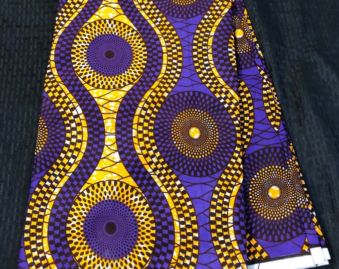 6 yard Orange/gold purple Omega road bullseye  ankara Wax fabric/ethnic fabric/ traditional fabric/ African Material/ cloth/ dashiki