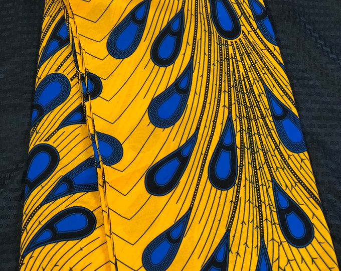 A659 6 yards Royal Blue/yellow rain peacock teardrop design  Kitenge african Fabric/ african Wax print/ Ankara/ Material/ cloth/ wrapper
