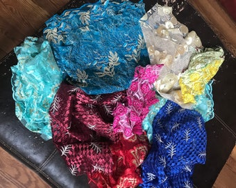 Lace scraps in varying sizes and colors/ hat making Lace/ art craft Lace/ scrapbook Lace/ Sewing/ quilting: net Lace/ bridal bouquet lace