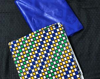 AB14 Ankara/ Bazin Royal blue Green yellow mix and Match African Wax/ African Fabric/ankara/ Material/ decor pillows/ african cloth dolls