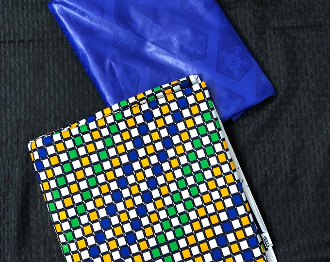 AB14 Ankara/ Bazin Royal blue Green yellow mix and Match African Wax/ African Fabric/ankara/ Material/ decor pillows/ african cloth dolls