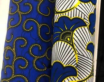 MM429 3 yds each royal blue yellow salad macaroni aNd Match African Wax/ African Fabric/ankara/ Material/ decor pillows