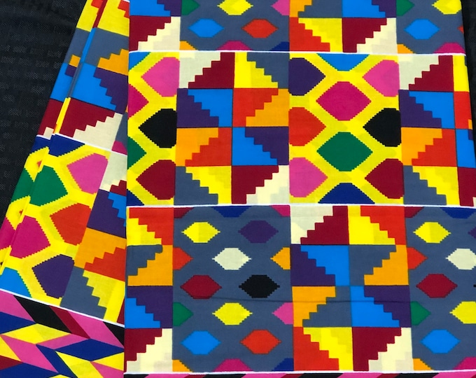 K642 6 yard yellow/ red/ Blue/ fuchsia pink kente Fabric/ kente Wax print/ kente cloth/ Material/ tribal print