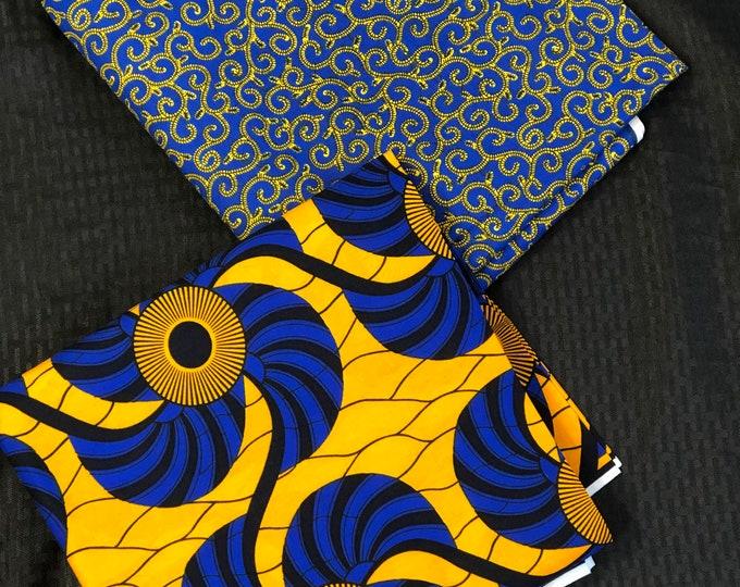 MM351 3 yard each Blue/ Yellow Mix Match set. Fan macaroni African Fabric/ African Wax print/ Ankara/ African Material Cloth