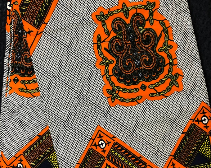 OY1 african fabric per yard yellow/orange black turtle linoleum African fabric ethnic print home decor wholesale African ankara Fabric