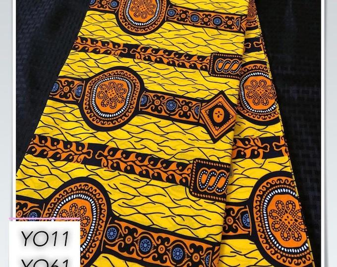 YO11 african fabric per yard Brown Yellow orange watch African Wax print/ Ankara for Dress/ African cloth dolls/ African decor