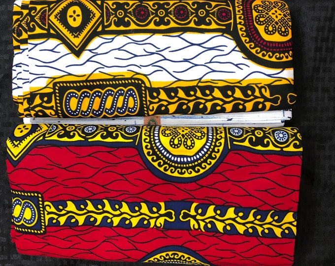MM464 3 yards each Mix Match watch white yellow Red African Fabric/ ankara/ african Wax Print/ ethnic print/ African Material/ Doll Cloth
