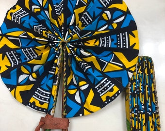 Blue yellow white kuba Ankara african wedding favor ethnic print fabric round windmill style handmade hand fan with leather trim folding