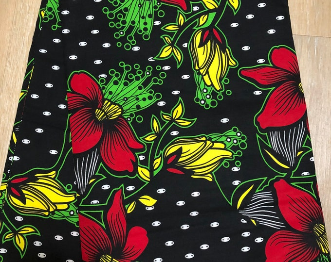 MC102 African fabric per yard multicolor ink black red yellow green floral  Design / ankara/ african Material/ Cloth/ wrapper/Head tie