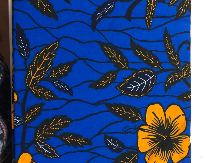 BO1 African fabric per yard Royal Blue orange floral african Fabric/ african Wax print/ Ankara/ Material/ cloth/ wrapper