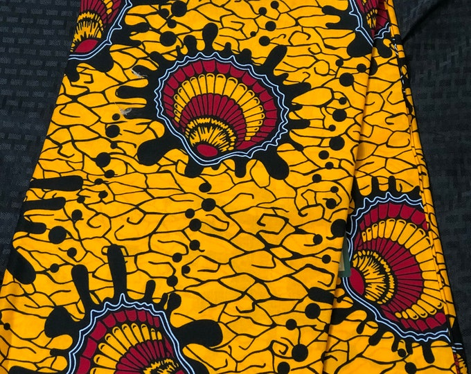 African fabric per yard red/ Yellow Oysters Design /African Wax print/ Ankara for Sew Dress/ African Art/ cloth dolls