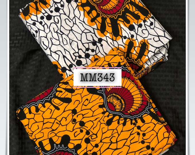 MM343 3 yards each Mix Match oyster white yellow Red African Fabric/ ankara/ african Wax Print/ ethnic print/ African Material/ Doll Cloth