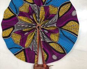 Yellow purple blue  Ankara african wedding favor ethnic print fabric round windmill style handmade hand fan with leather trim folding