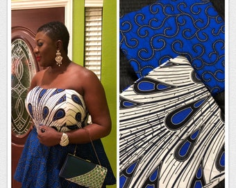 MM162 3 yards each Blue/ White  Mix aNd Match African Wax/ African Fabric/ankara/ Material/ decor pillows/ african cloth dolls