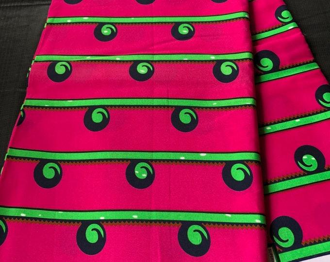 african fabric per yard Pink/ Green / African Wax print/ Ankara/ African Cloth/ Material/ Ghana/ Nigeria Fabric