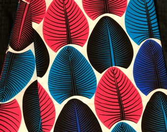 MC22 African fabric per yard Blue pink white leaf African Wax print/ Ankara/ Sew Dress/ african table napkins/ ho
