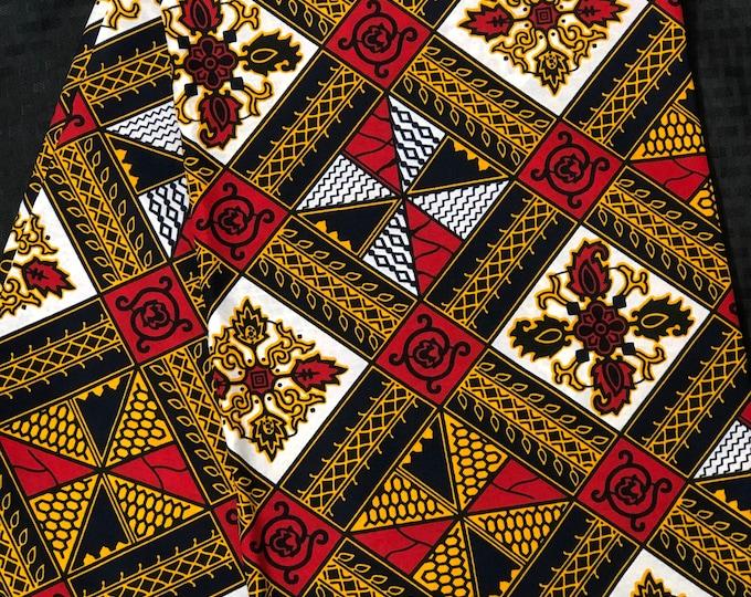 A1556 Per yard White/ red/ Yellow/orange diamond kitenge African Fabric/African Wax print/ Ankara for Sew Dress/ African Art/ cloth dolls